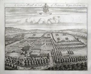 CLEARWELL CASTLE, CLOWER WALL, Gloucestershire, J.KIP antique print 1768