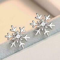 Snowflake Crystal Stud Earrings Womens Jewellery Xmas Gifts N1H9