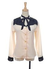 Women S/M Fit Sheer Peach Long Sleeve Trendy Button Blouse w Neck Piece