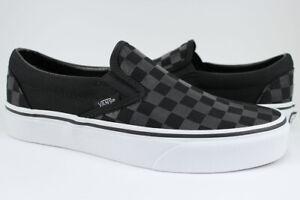 Vans Classic Slip-On - Black/Black Glossy Checkerboard Checker Check - Men/Women