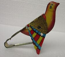 Rare Vintage Bird Flying Mechanical Squeeze Singing Bird Litho Tin Toy