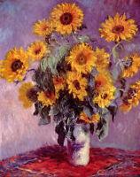 Art Oil painting Monet - still life sunflowers in vase canvas hand painted art
