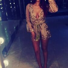 Womens Long Sleeve Sequin Bodycon Mini Dress Evening Party Cocktail Formal Prom