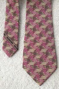 """""""MISSONI UOMO"""" fuscia, tan & brown woven """"Pure Silk"""" criss-crossed pattern tie"""