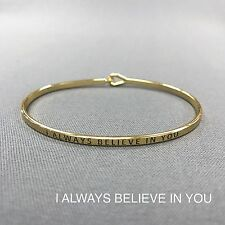 Gold Metal Finish I Always Believe In You Engraved Simple Bangle Bracelet