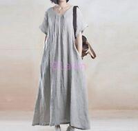 Womens Full Long Loose Hemp Cotton Dress Caftan Short Sleeve Outdoor Relax 2017