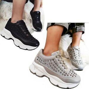 SCARPE Donna Sneakers Borchie Sportive Ginnastica Lacci Passeggio Zeppa D57
