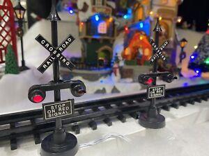RARE Light Up Lemax Railroad Crossing Signal Lights Christmas Village #34954 NIP
