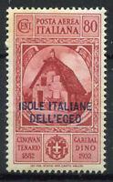 Egeo 1932 Sass. 15 Nuovo ** 40% Posta Aerea 80 c, Garibaldi