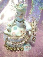 *SUPER RARE VTG* Japan Pink Ruffle Bloomer Shopper Girl Angel Parasol Figurine