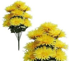 """16-Bright Yellow Gerbera Mums 22"""" Tall Bouquet Wedding Home Decor Fake Flower"""