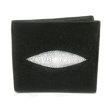STINGRAY SKIN MEN WALLET PURSE BAG CASE BLACK GOOD QUALITY FINE STITCHED EXPORT