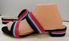 Loeffler Randall Black Leather Velvet Stripes Slide Sandals Shoes Womens 8.5M