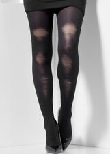 Opaque Black Distressed Tights Smiffys Ladies One Size