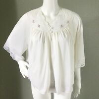 Vintage Shawdowline Womens Nightgown Top Babydoll Floral Applique Rose Lace L