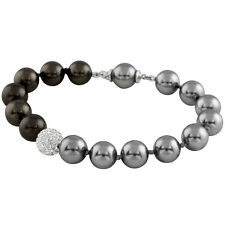 10mm Grey & Peacock shell pearl bracelet with a White CZ pave crystal ball OB-04