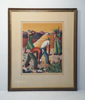 Original Joel Rohr Painting Gouache on Paper Workers Signed
