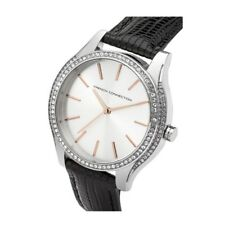 FRENCH CONNECTION WATCH 30% SALE! Ladies 30mWR Silver with Blk Leather RRP $169