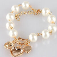 Women Fashion Gold Plated Crystal Heart Bangle Pearl Bracelet Jewelry Hot