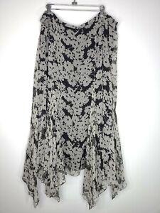 Lauren Ralph Lauren Womens Skirt Black White Floral Lined Midi Length Size 22W