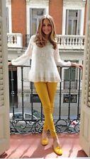 Rare! ZARA Ivory White Embroidered Frill Top Blouse Shirt Medium M
