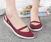 Ladies Casual Slip On Flats Sandals Slingback Hollow Out Jelly Shoes Sz36-40 UK