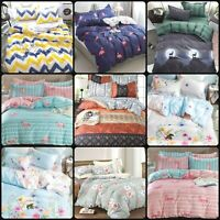 Reversible Duvet Quilt Cover Bedding Set Pillow Case Single Double King Sizes
