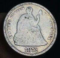 1872 Seated Liberty Half Dime 5C Ungraded Good Date 90% Silver US Coin CC3838