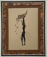 ART DECO VINTAGE STYLIZED FIGURE PORTRAIT STUDY GOLD DETAIL MIXED MEDIA PRINT