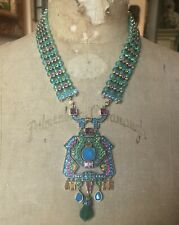 Heidi Daus Green and Blue Drop ART DECO Station Beaded Necklace