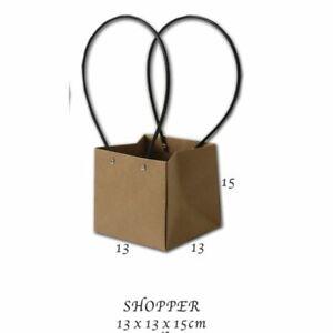 10X Busta Shopper in carta avana con manici in plastica 13X13X15 cm 0OVX