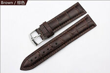 Black Brown Genuine Leather Watch Strap Band Mens Stainless Steel Buckle