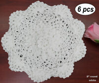 "Creative Linens 6 Pieces 8"" Round Crochet Lace Doily WHITE 100% Cotton Handmade"