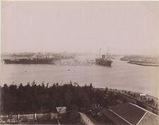 Egypte Canal de Suez Histoire Vintage Albumine ca 1885