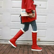 Ladies Winter Fashion All-Match Round Toe Red Wedge High Heel Knee High Boots
