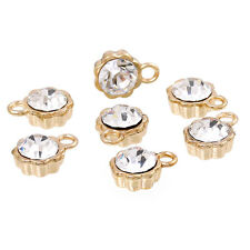 10 Gold Plated Rhinestone Drop Charms, 8mm flower circle with crystal chg0164
