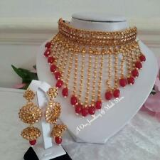 Bollywood Indian Jewelery Ethnic  Bridal Kundan Stone Necklace Earring Tikka Set