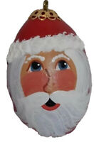 """Santa Clause Hand Painted Egg Shaped Christmas Tree Ornament 3.5"""" Tall"""