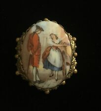 Cameo Brooch Courting Couples Fur Scarf Clip Colonial Gold Tone Vintage