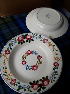 2x Antique Sarreguemines Piccola Bowls Ceramic Made in France Floral 23.9cm