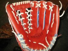 "13"" Gallegos Gall Pro Custom Outfielder's Glove Red/Light Blue Made in Mexico"