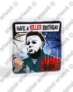Michael Myers Birthday Card, Horror Birthday Card, Halloween Horror Card - A2519