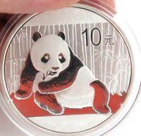 .2015 CHINESE PANDA 10 YUAN 1OZ  .999% SILVER B/UNC COIN IN CAPSULE.