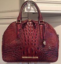 BRAHMIN Hudson Satchel Pecan Melbourne Croco Leather Shoulder Bag Brown NWT $345