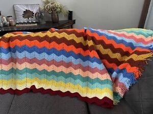 "Handmade Colorful Chevron Afghan Throw Blanket Crochet Bedspread 85"" X 53"" EUC"