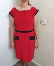 Joseph ribkoff Fushia Pink/black bodycon Dress With Zip Detail Size Uk 16