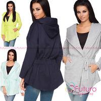 Womens Oversized Hooded Blazer Long Sleeve Jacket Cape Coat Top Size 8-14 2585