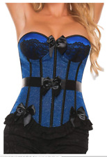 Starline Women's Satin Bow Corset, Ribbon & Ruffle Trim w/Lace, Blue/Black, Med