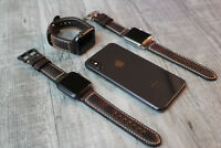 For Apple Watch Series 5 4 3 2 42mm 44mm Brown Litchi Leather Strap Band Iwatch