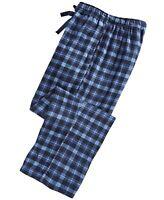 Perry Ellis Men's Small-Plaid Flannel Pajama Pants Blue Size Medium